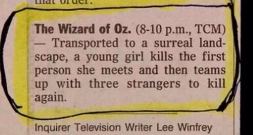 Wizard of Oz TV listing